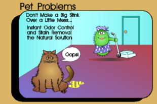 Cartoon of Enz-Odor cleaning up a pet accident